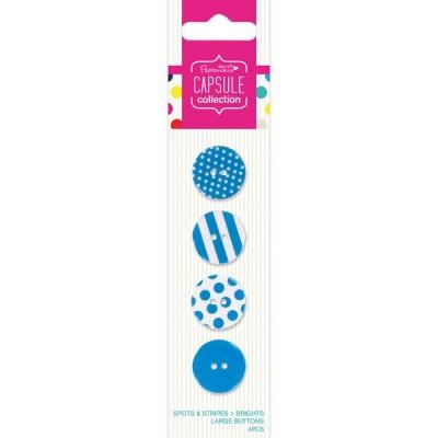 Botões Grandes (4 unid.) Capsule Spots & Stripes Brights Blue