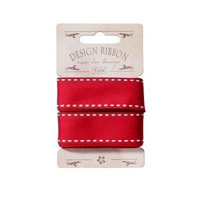 Ribbon 10 mm/ 3 m - Red w/ White Seams by Tilda