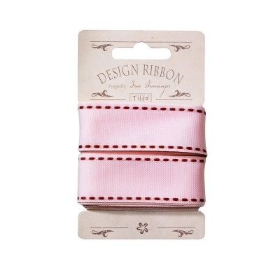 Ribbon 25 mm/ 3 m - Pink w/ Red Seams by Tilda