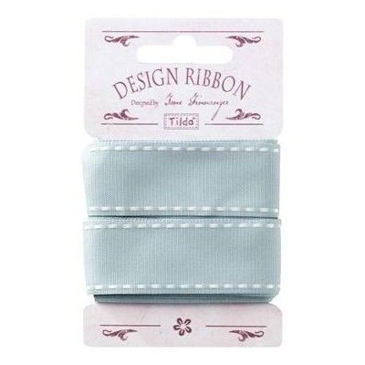 Ribbon 25 mm/ 3 m - Grey w/ White Seams by Tilda