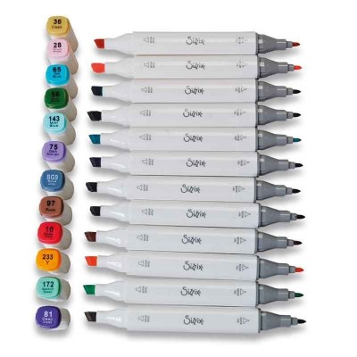 12 Permanent Pens Assorted Colours