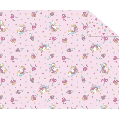 "Double Sided Cardboard (19 1/2"" x 26 4/5"") Unicorns and Hearts"