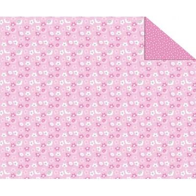 Cartolina Dupla Face (49,5 x 68 cm) Flores e Pintinhas Rosa