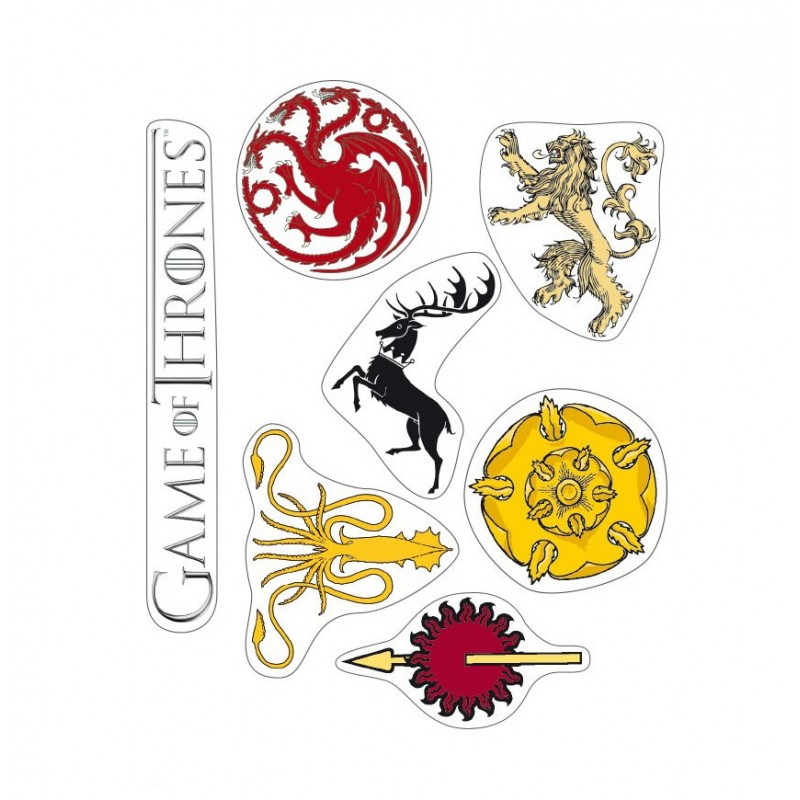Set of 2 Sheets w/ Game of Thrones Stickers