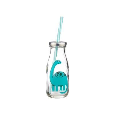 Mini Milk Bottle w/ Straw Dinosaurs