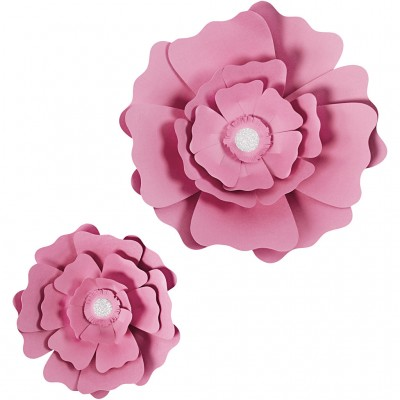 Set of 2 Pink Paper Flowers