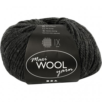 125 m Wool Yarn - Dark Grey
