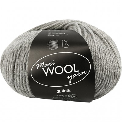 125 m Wool Yarn - Light Grey