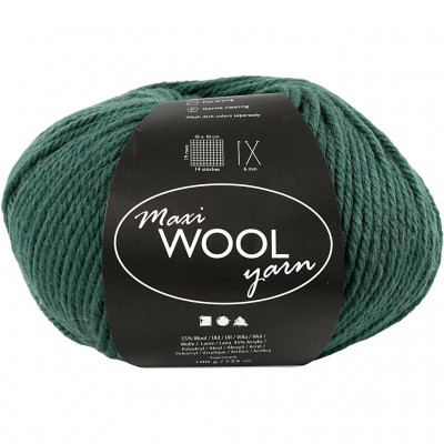 125 m Wool Yarn - Dark Green