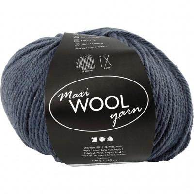 125 m Wool Yarn - Dark Blue