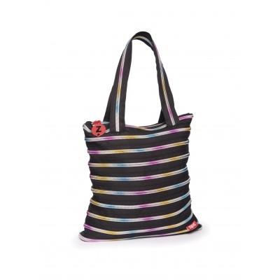 XL Tote Bag - Black & Rainbow