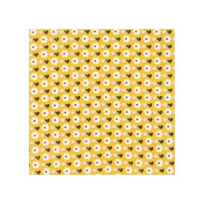 Tecido Flores Mostarda